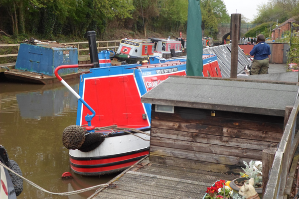 Working Narrowboat Hadar on her home mooring on the Saltisford Arm of the Grand Union Canal in Warwick