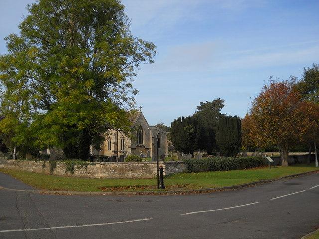 St. Benedict's Church and North Fen Road, Glinton