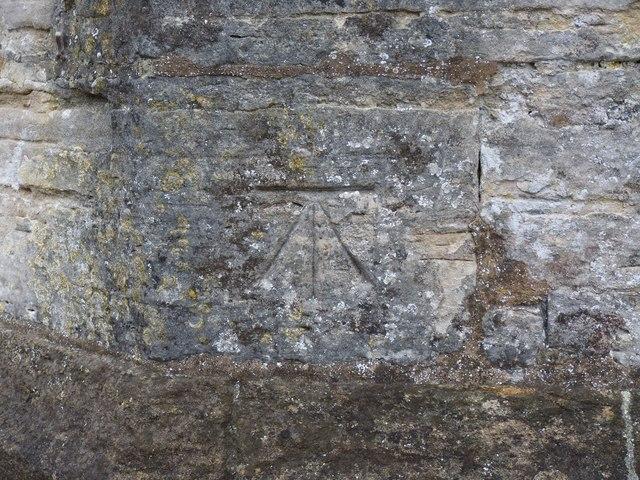 Bench mark, St Mary's Church, Cerne Abbas