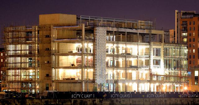 CQ1, City Quays, Belfast (night view) - October 2014(7)