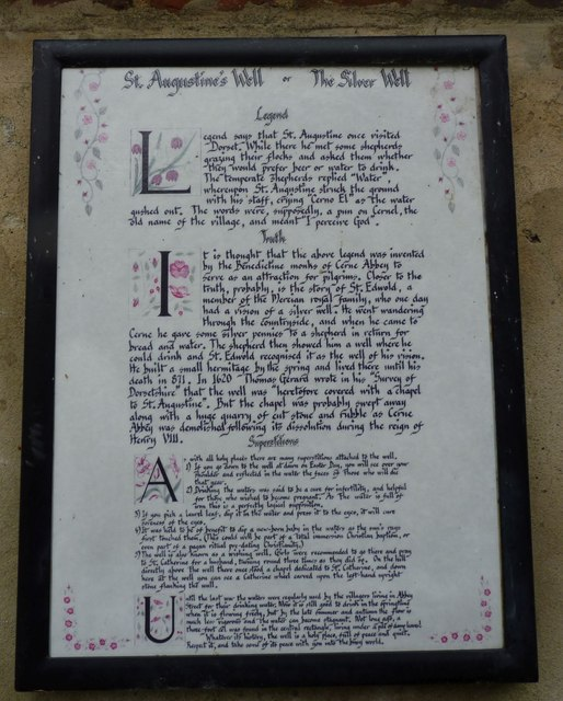 Sign at St Augustine Well, Cerne Abbas Abbey