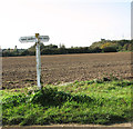 TF8023 : Footpath sign on Great Massingham airfield by Evelyn Simak