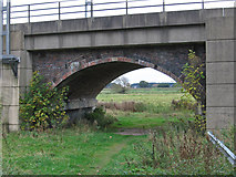 SK6593 : Bawtry - view under railway viaduct arch by Dave Bevis