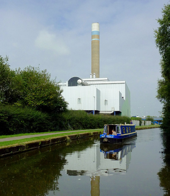 Canal, boat and incinerator near Stoke-on-Trent