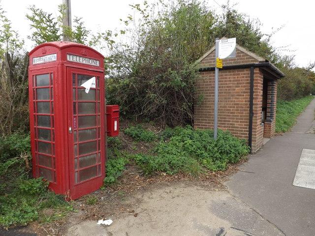 Telephone Box & Ipswich Road near Public House Postbox