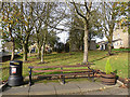 NZ1855 : Bench on the village green, Tanfield by Oliver Dixon