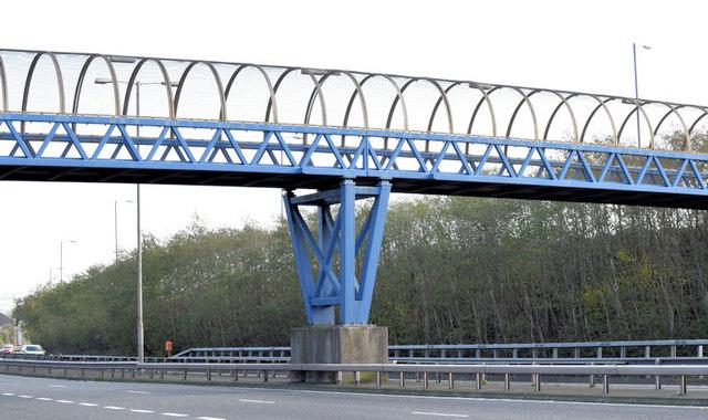Footbridge, Sydenham bypass, Belfast (November 2014)