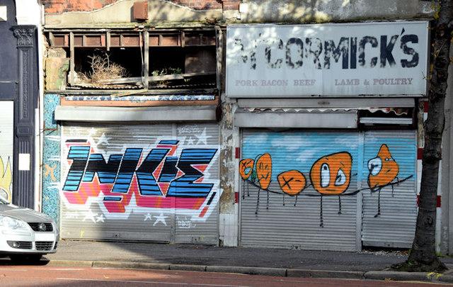 Decorated shutter doors, Belfast - November 2014(1)