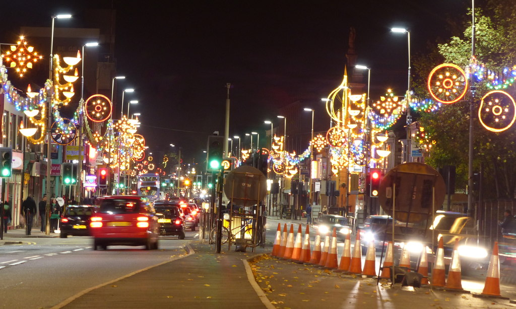 Diwali lights along the Leicester Golden Mile. Looking north along the busy Belgrave Road.