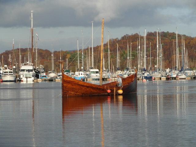 """Replica Viking """"longship"""" in Tarbert harbour"""