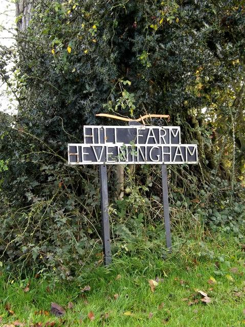 Hill Farm, Heveningham sign