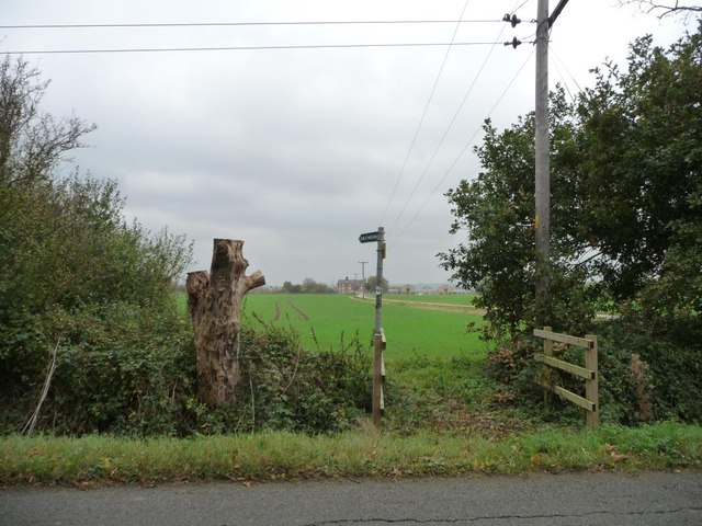 Bridleway signpost and bridge, near Fielden House