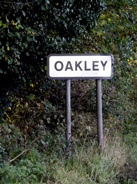 Oakley Village Name sign on the B1118