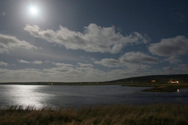 Moonlight over the voe at Baltasound