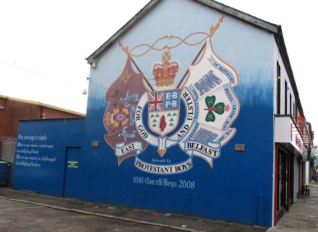 The East Belfast Protestant Boys mural in Hemp Street, off Newtownards Road