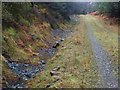 NM9941 : Stream near sharp bend in track by Steve Houldsworth