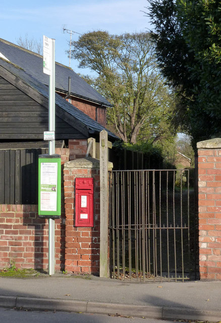 Bus stop, postbox and kissing gate