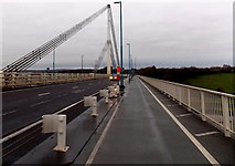 ST5491 : Across Wye Bridge towards Chepstow by Jaggery