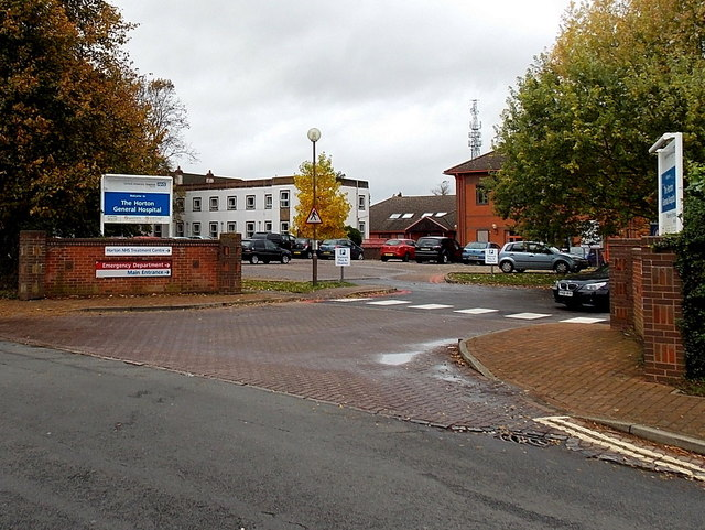 Main entrance to The Horton General Hospital in Banbury
