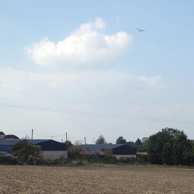 Farm buildings and field below the Birmingham Airport flightpath, Walsal End