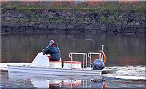 J3473 : Rowing safety boat, River Lagan, Belfast (November 2014) by Albert Bridge