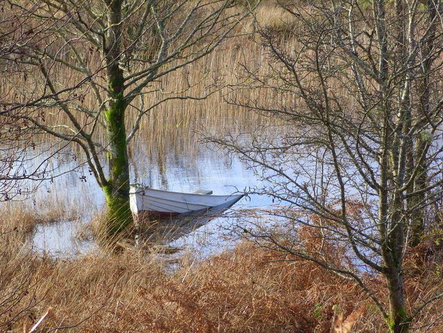 Boat (rather wet!) on Loch nan Druimnean