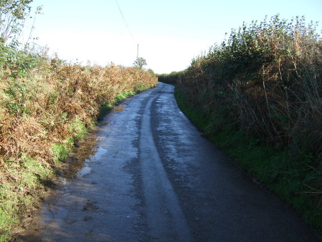 Country lane south of Tregear
