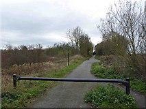 SK5086 : Barrier on cycle path by Steve  Fareham