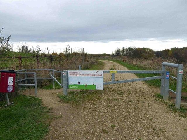 Gated entrance to Dinnington community woodland