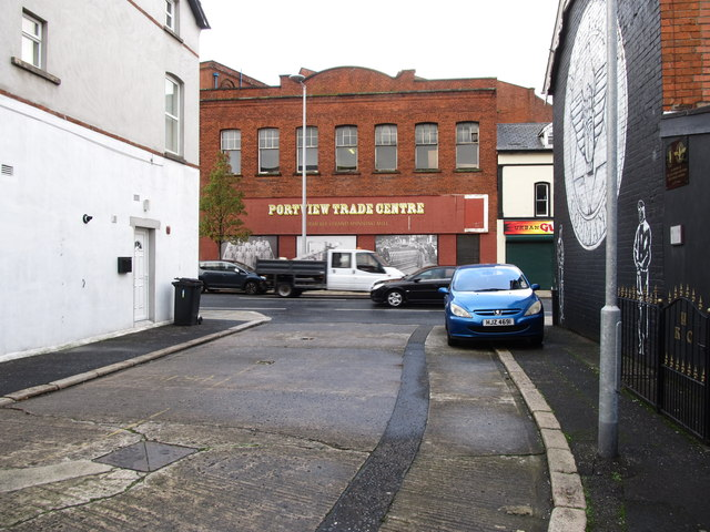Part of the Portview Trade Centre visible from an unnamed cul-de-sac on the Newtownards Road