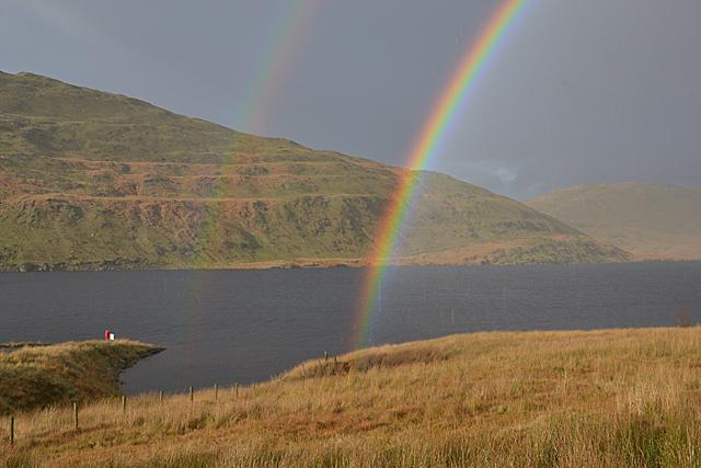 Rain and rainbow over Nant-y-moch reservoir