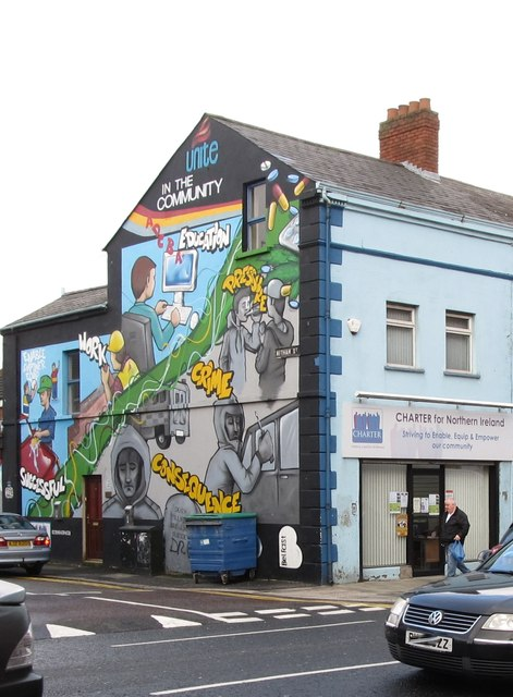 Unite in the Community Mural at the junction of Newtownards Road and Witham Street
