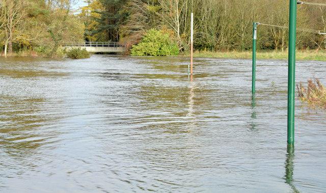 The River Lagan in flood, Clement Wilson Park, Belfast - November 2014(1)