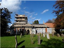 SP6517 : St Mary, Ludgershall undergoing repairs by Bikeboy