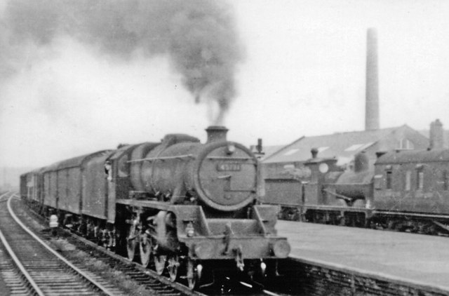 Wigan (North Western) 1954, with Down freight - and an 'interloper'