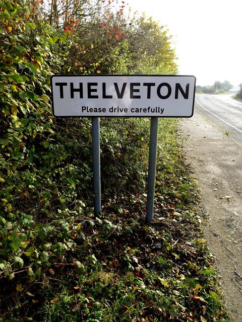 Thelveton Village Name sign on Norwich Road