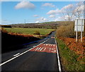SS9683 : SLOW signs on the uphill side of the B4280 near Pencoed by Jaggery