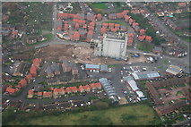 TF3387 : Demolition of the Louth Malt Kiln: aerial 2014 by Chris