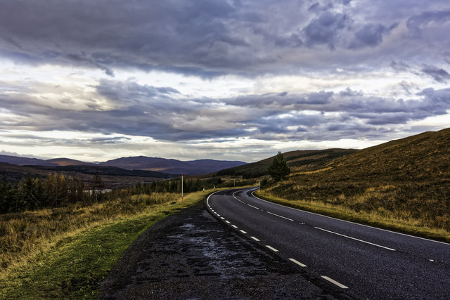 Looking NNE on the A87