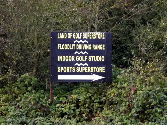 Golf Superstore sign on the A143 Old Bury Road by Geographer