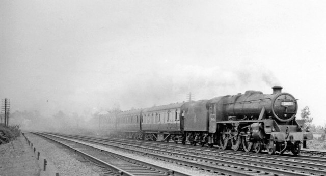 Up Cup Final Special approaching Bletchley, 1957