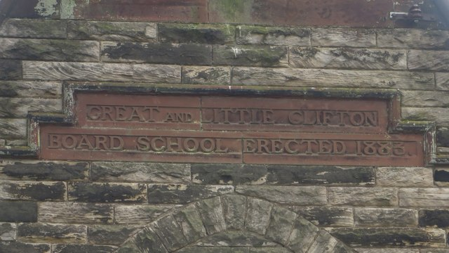 Inscribed stone, former Board School in Great Clifton