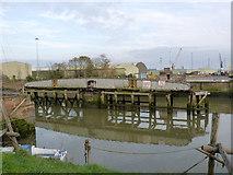 TF3243 : Boston Harbour railway swing bridge by Alan Murray-Rust