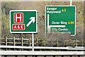 "J3776 : ""Hospital"" direction sign, Sydenham bypass, Belfast (November 2014) by Albert Bridge"