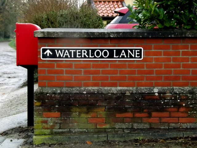 Waterloo Lane sign & Waterloo Lane Postbox by Geographer