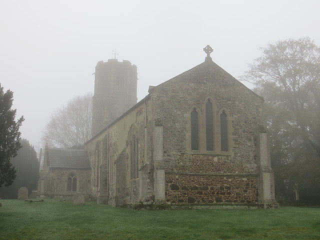 The Church of St Mary the Virgin at Bexwell on a Misty November Morning