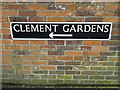TM1279 : Clement Gardens sign by Adrian Cable