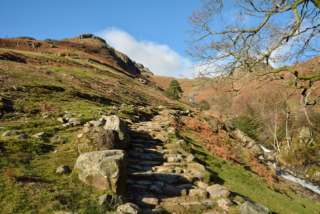 Stepped path climbing for Stickle Tarn