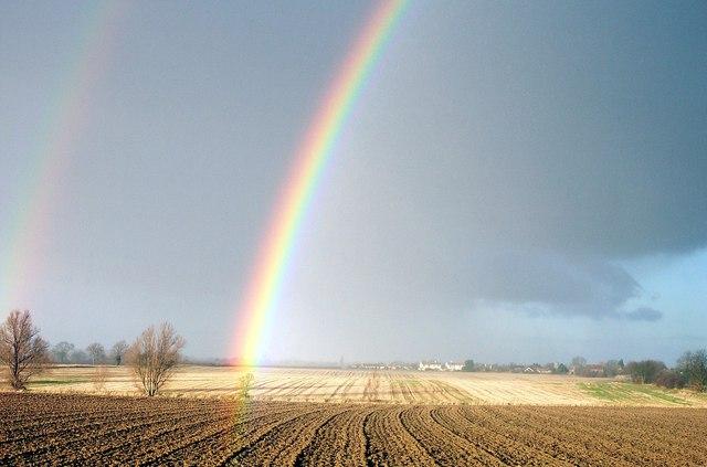Rainbow over the fen near Bourne, Lincolnshire