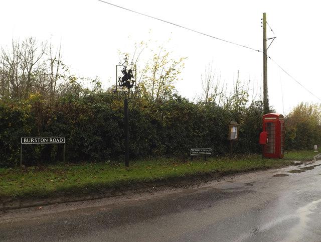 Dickleburgh Road Postbox & Telephone Box